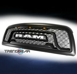 For 2009-2012 Dodge Ram 1500 Pickup Hood Upper Grille Grill Shell w/Lights Black
