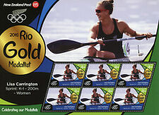 New Zealand 2016 MNH Rio Gold Lisa Carrington Kayaking 6v M/S Olympics Stamps