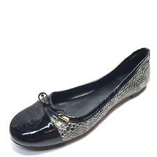 Tory Burch Verbena Leather Smoke Roccia Black Ballet Flats Womens Size 8.5 M*