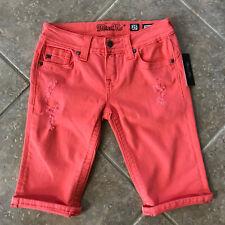 Miss Me Mid Rise Bermuda Shorts Sz 25 Distressed Coral Denim MS5151M205 NWT $79