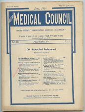 June 1916 Philadelphia Medical Council Journal Medicine Doctors Trade Magazine