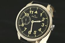 Vintage Soviet USSR manual winding MILITARY style watch PILOT transparent back