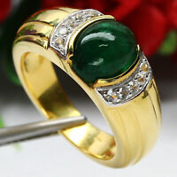 NATURAL 7 X 9 mm. CABOCHON GREEN EMERALD & WHITE TOPAZ RING 925 SILVER