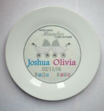 New Baby Twins Carriage Diamantes Personalised Birth Christening Plate Gift