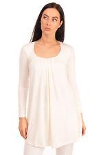GRAZIA'LLIANI Pyjama Top Size 42 S Pleated Long Sleeve Scoop Neck Made in Italy