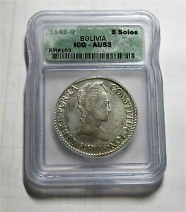 1845-R Bolivia silver crown coin 8 soles Bolivar rare KM# 103  AU-53 - ICG