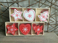 Heaven Sends red white Nordic stars hearts trees Christmas decorations box of 12