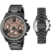 New Michael Kors MK5879 Wren Pave Rose Crystal Dial Black Tone Ladies Watch