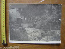 ANCIENNE PHOTO riviere montagne hommes chien BOURGEOISIE NOBLESSE PAYSANS