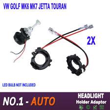 2X H7 LED Headlight Bulb Holder Adaptor Conversion Kit For VW Golf MK6 MK7 JETTA
