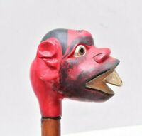 RARE ANTIQUE FOLK ART CARVED WOOD GROTESQUE FACE WALKING STICK CANE RED