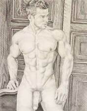 """9"""" x 12"""" drawing print nude male at the door gay interest"""