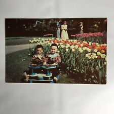 Tulip Time in Holland Michigan Twins Vintage Double Stroller Unposted Postcard