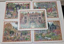 Vintage Clover Leaf England Table Mats Set of 5 Garden Scenes