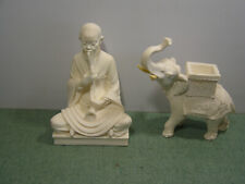 Vintage White Italian Marble hand carved Royal Elephant and Buddha figurines 2