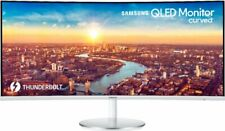 "Samsung - 34"" LED Curved QHD FreeSync Monitor - White/Silver"