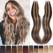 20 40 60pcs Tape In 100% Remy Human Hair Extension Full Head Skin Weft Blonde US