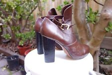 Kirrily Johnston Chloe Leather Buckle Zomp Platform Ankle Brown Boots 7 7.5