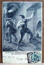 Pietro Micca d'Andorno mette il fuoco alla mina [piccola, b/n, viaggiata]