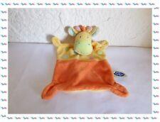 T - Doudou Semi Plat  Girafe Orange/Jaune avec Broderies Mots d'Enfants