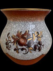 """Vintage Dahl Jensen DJ Copenhagen Denmark Crackle Floral Vase Green Gold~ 3 1/8"""""""