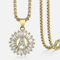 Women CZ Cubic Zirconia Initial A-Z Letter Name Pendant Necklace Gold Filled