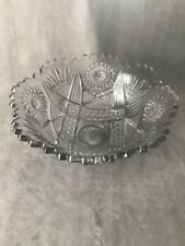 PV02448 EAPG Clear Punch Bowl Lancaster Glass NORTH STAR c1910