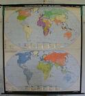Schulwandkarte Beautiful Old World Map 20.Jahrh. 174x194 Vintage ~ 1957