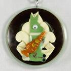 Bakelite & Celluloid Green, Google Eye Bunny Rabbit w/ Carrot Pendant Necklace