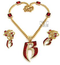 "Iced Out Hip Hop Red Ruby, Ruff Ryder R Pendant 33"" Cuban Link Chain Necklace"