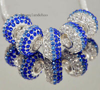 5p Gorgeous Czech Crystals Round Bead fit 925s European Charm Bracelet Chain k94