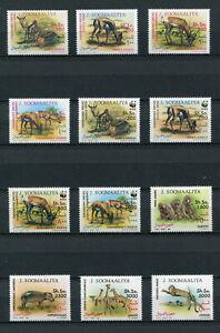 """WWF - Somalia Mi. Nr. 432 / 443 """"Gefährdete Wildtiere """" ** / MNH (Jahr 1992)"""
