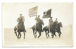 1910s RPPC Mexican Border War Soldiers With Flags W.H. Horne El Paso Texas