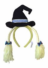 Wicked Witch Halloween Hat Headwear Headband with Bows and Yarn Hair Yellow NEW