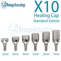 10 Standard Healing Cap 4.6mm Dental Abutment internal Hex Fit Alpha Bio Mis