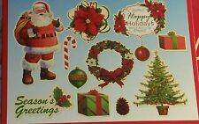 Christmas Decorative Cut Outs - 12 Pieces Per Package - Santa Tree Wreath & More