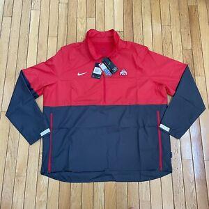 Nike Ohio State Buckeyes Half-Zip Coaches Windbreaker Jacket Mens Size 2XL $80