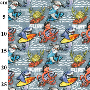 100% Cotton Fabric John Louden Surfing Shark Squid Sea Creatures Surf Beach Wave