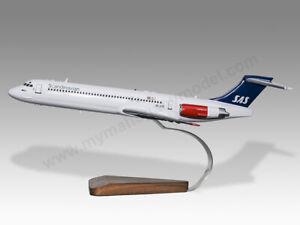 McDonnell Douglas MD-80 Scandinavian Airlines Solid Mahogany Wood Desktop Model