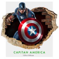 Adesivi murali parete  3D Capitan America - 002 wall sticker cameretta bimbi
