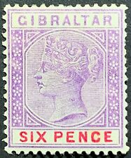 Gibraltar Queen Victoria, Scott #19, Six Pence, Mint Lightly Hinged, Very Fine