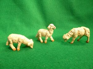 3 Vintage Sheep Lambs Plastic Nativity Figures Made in Italy