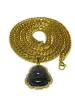 Men's Gold Plated Black Onyx iced Buddha pendant with 8mm Thick Cuban Chain