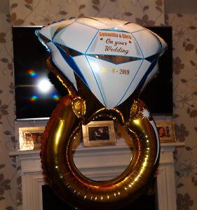 "Diamond Wedding Engagement Ring Foil Balloon  28"" PERSONALISED"