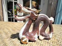 "VTG Otagiri Porcelain Ceramic Dragon Foo Figurine Gold Brown 5"" Long JAPAN"