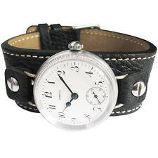 16mm Fluco Vigo Black Riveted Leather Military German Wire Lug Watch Band Strap