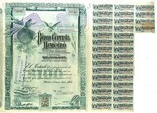 ACTION  ANCIENNE BANCO CENTRAL MEXICANO MEXICO MEXIQUE 1905 BANQUE MEXICAINE