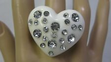 Big Chunky Wide Milky White Lucite Heart Ring With Clear Rhinestones - Size 10