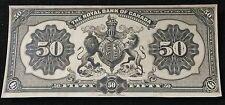 Rare 1913 Royal Bank of Canada 50 Dollar Back Proof With 5 Dollar Design Error