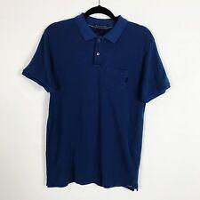 Scotch & Soda Garment Dye Pique Cotton Polo Shirt Size M Medium Navy Blue NWOT